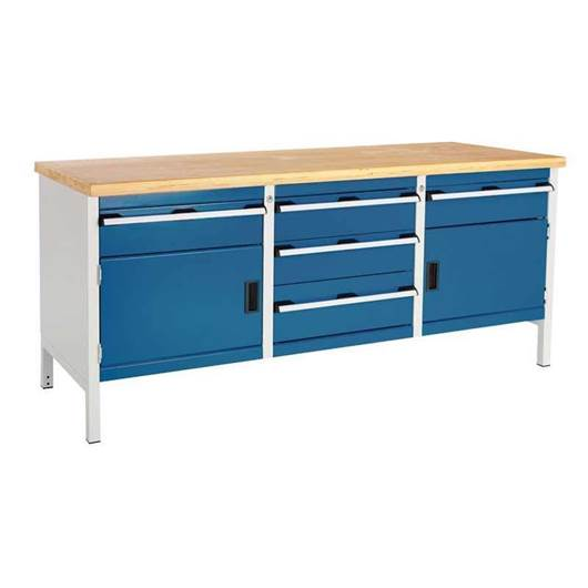 Picture of Super Heavy Duty Storage Bench with 2 Cupboards & 5 Drawers
